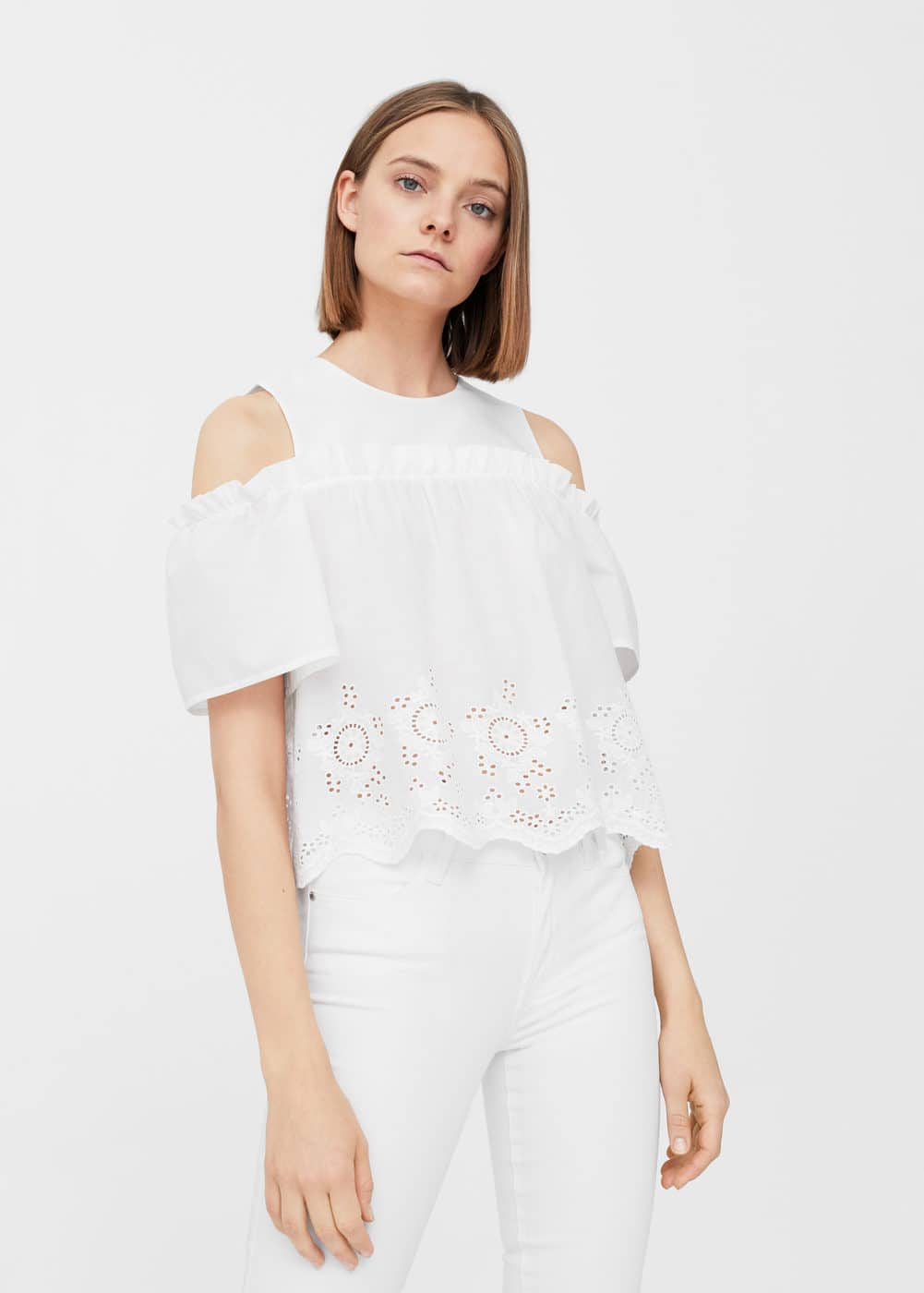 Ruffle cotton blouse | MANGO
