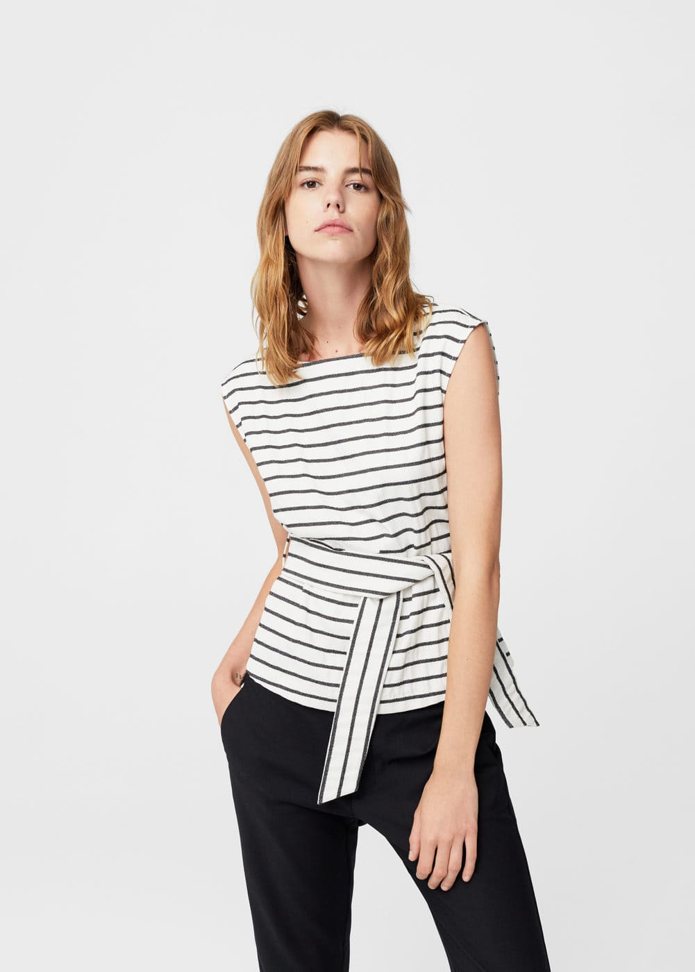 Bow striped top | MANGO