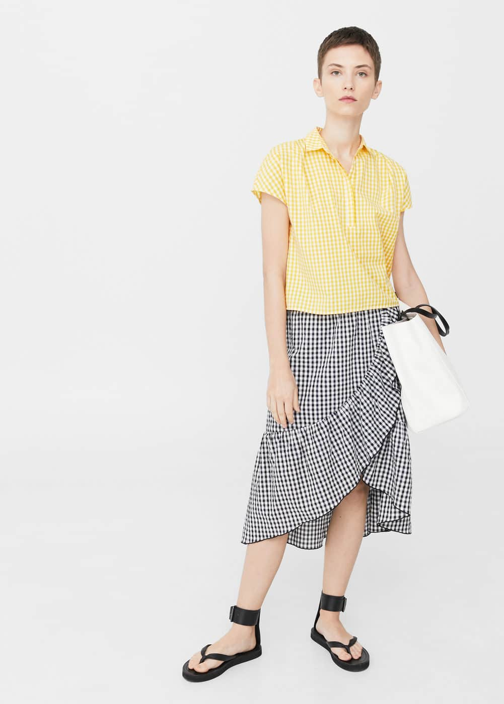 Gingham check top | MANGO
