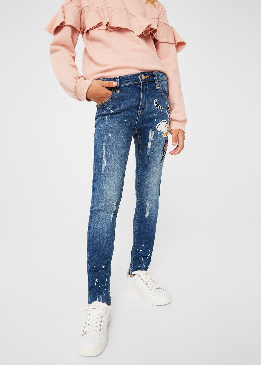 Patched painted skinny jeans | MANGO