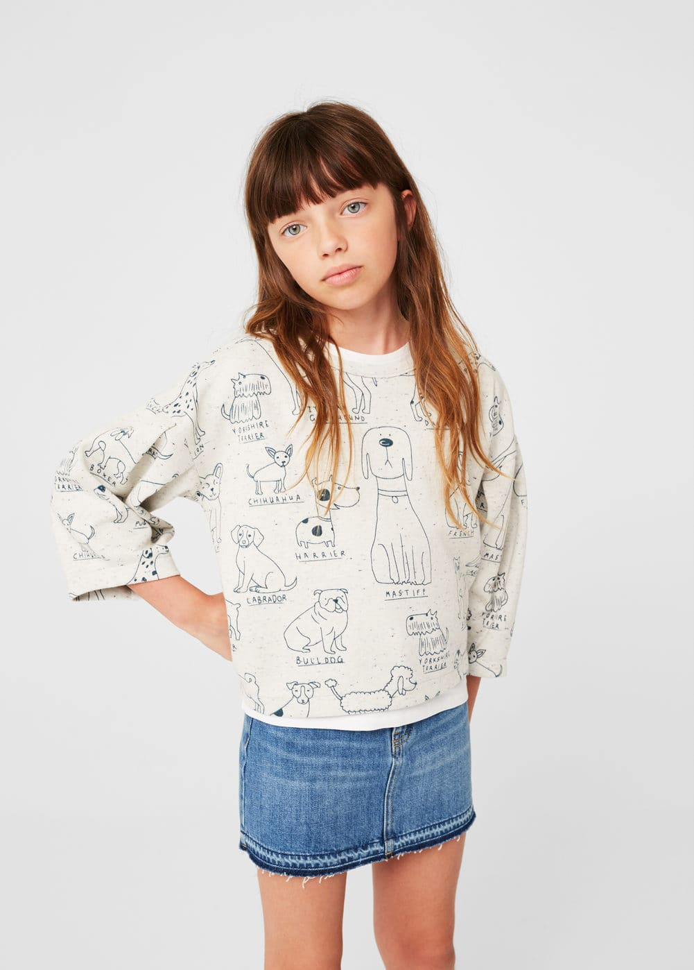 Printed crop sweatshirt | MANGO KIDS