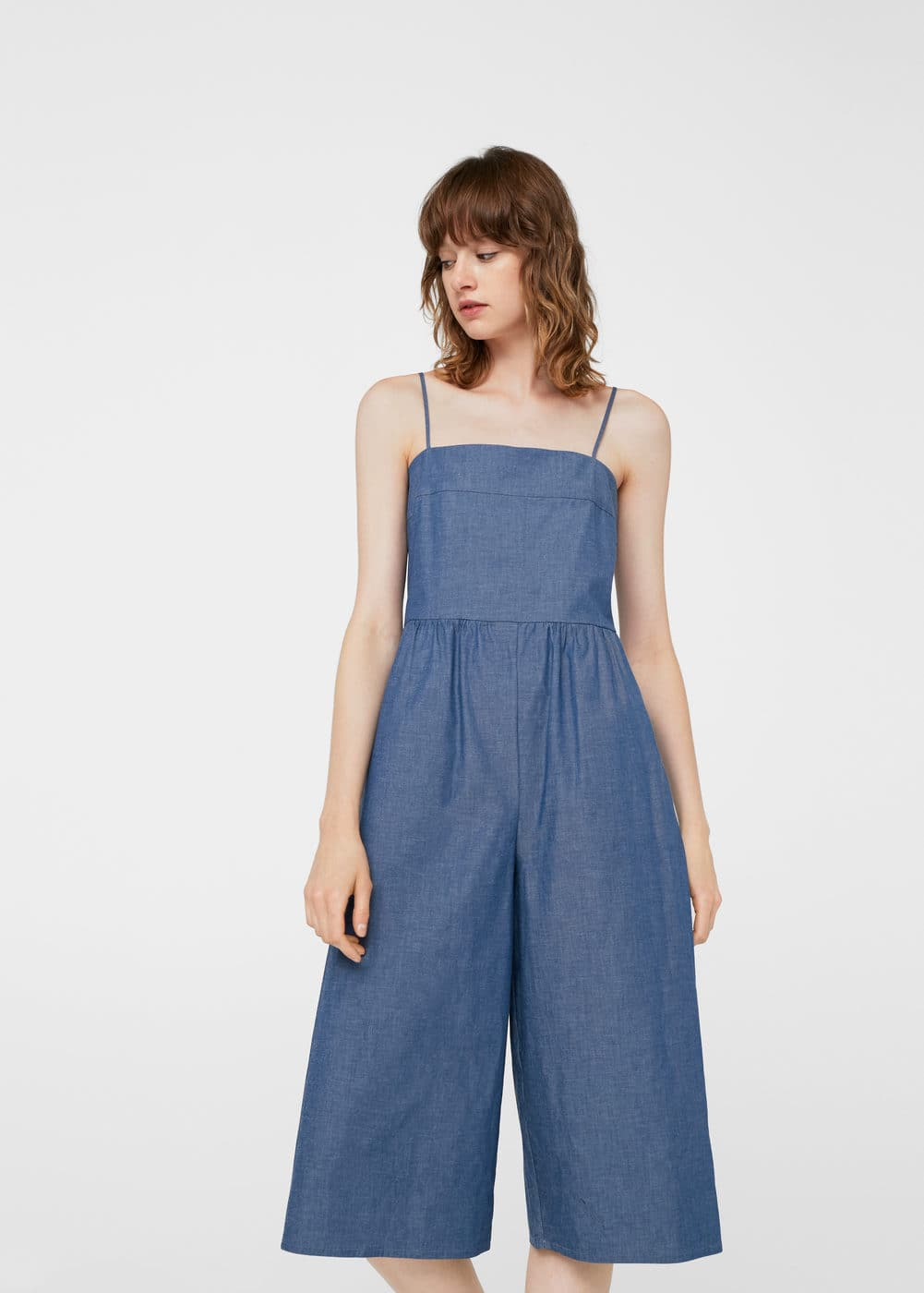 Cropped denim jumpsuit | MANGO