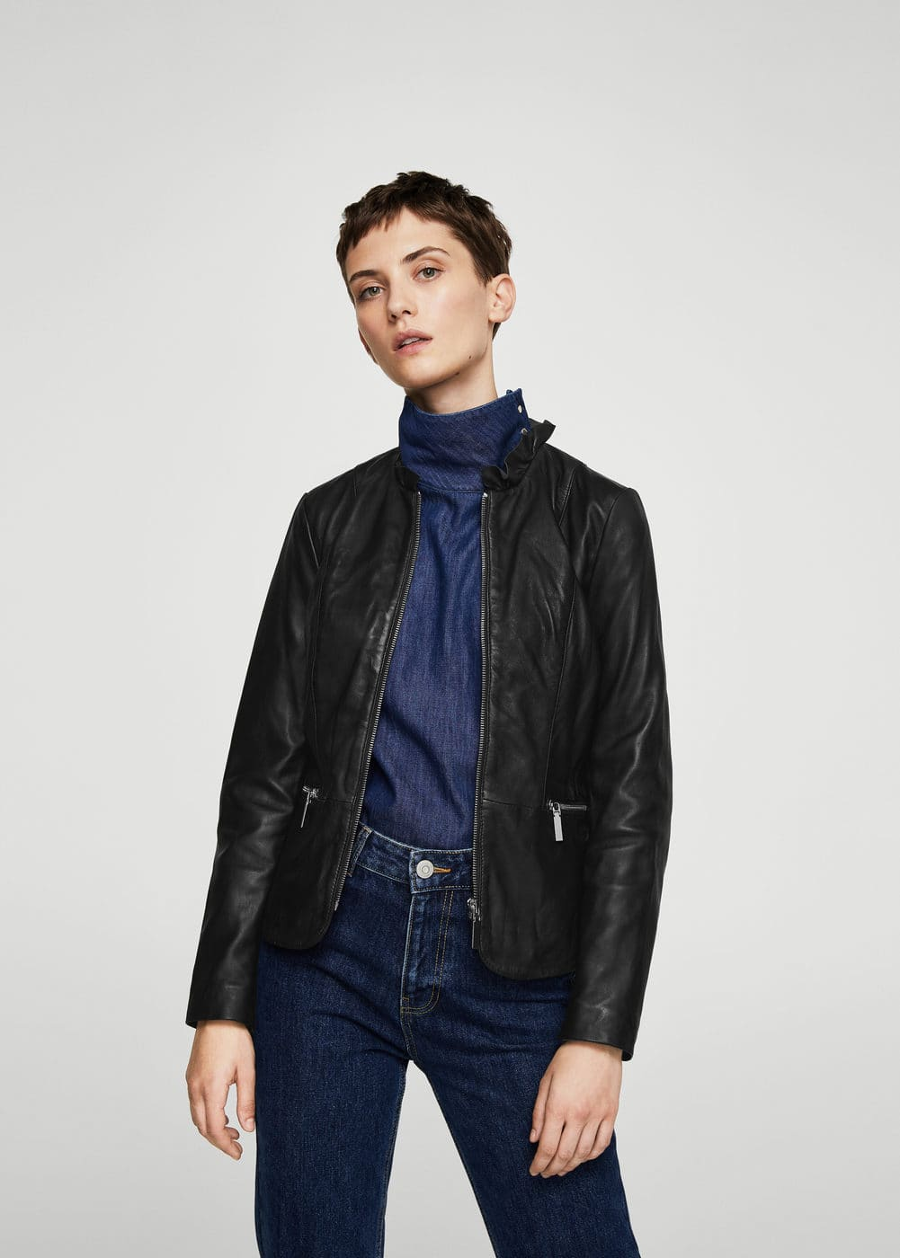 Ruffle neck leather jacket | MANGO