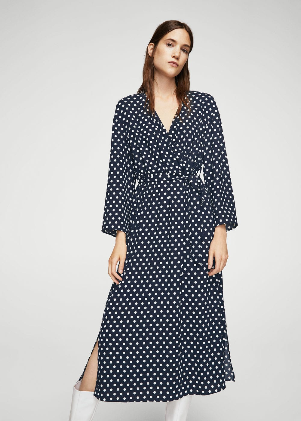 Wrap polka-dot dress | MANGO