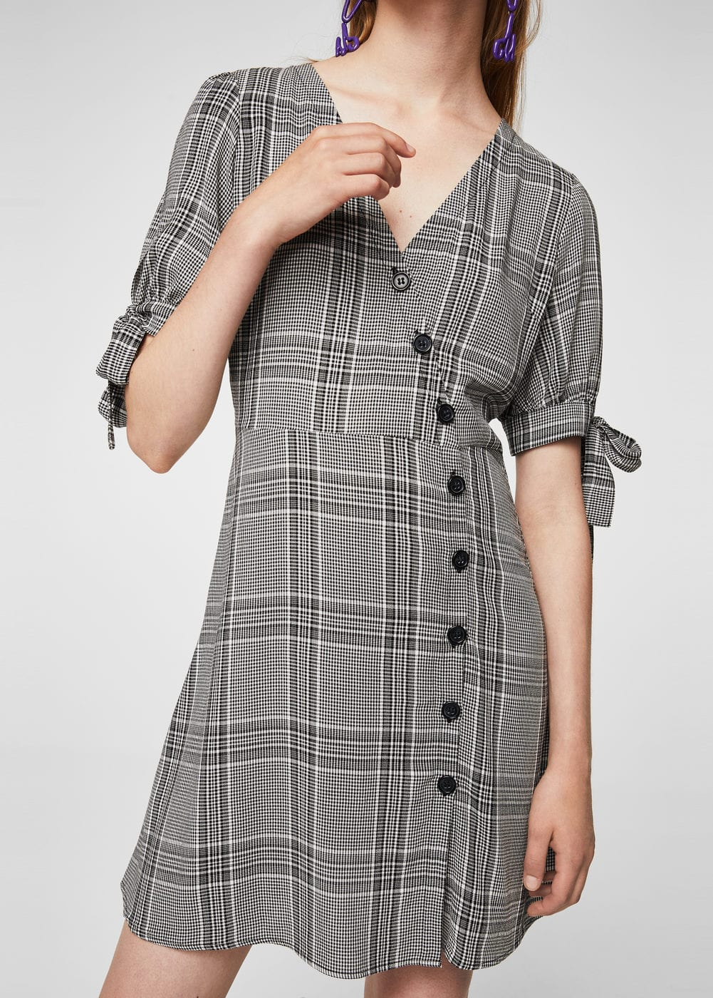 Check wrap dress | MANGO