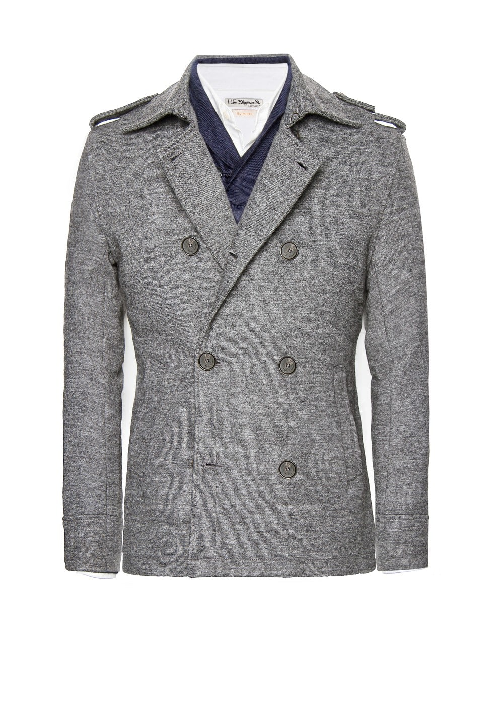 Wool-blend jersey peacoat | MANGO MAN
