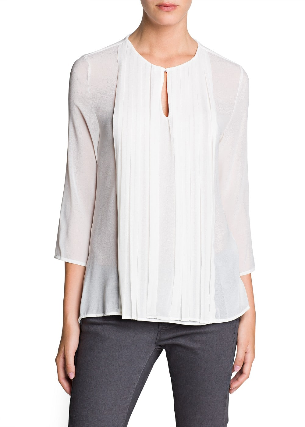 Pleated detail chiffon blouse | MANGO