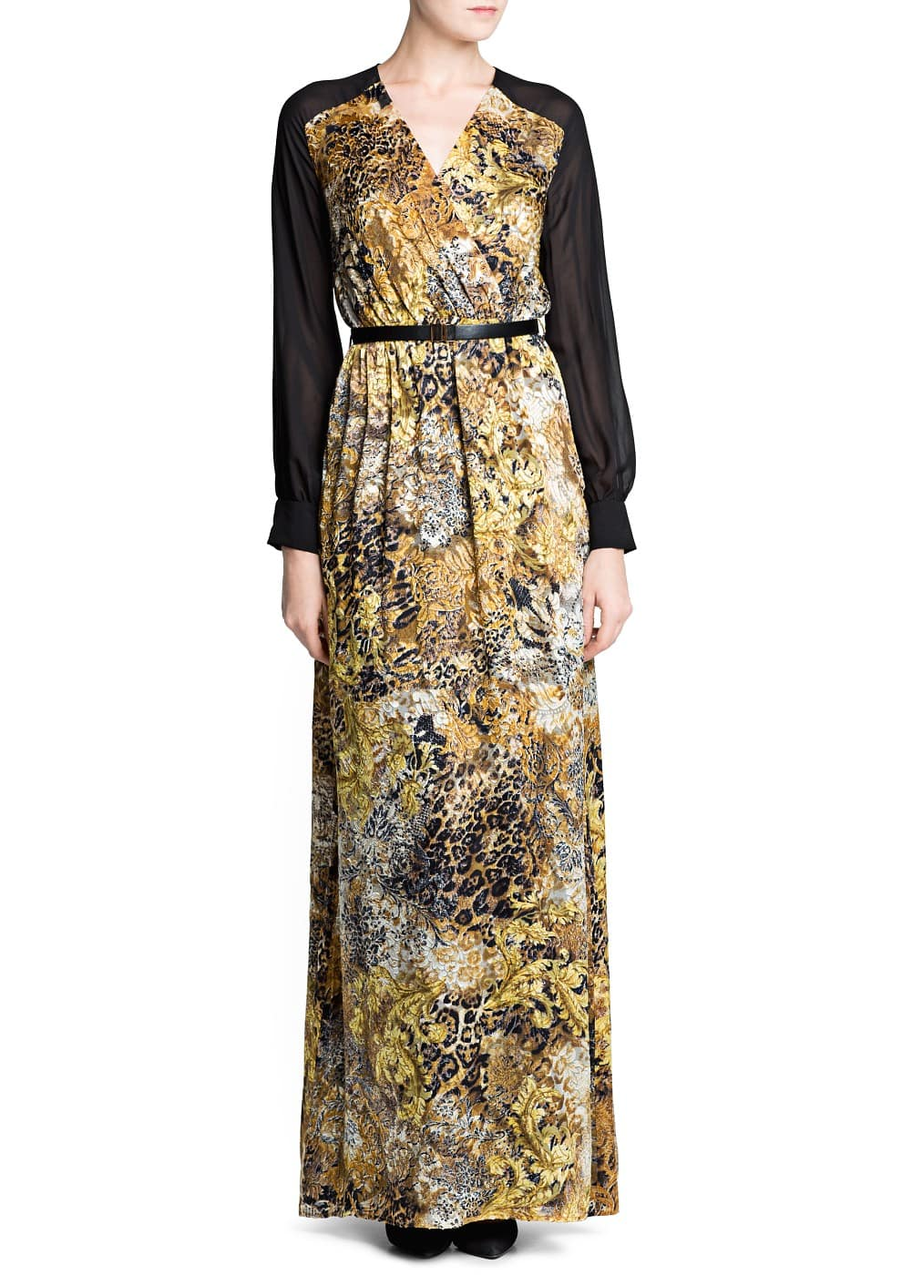 Textured print long dress | MANGO