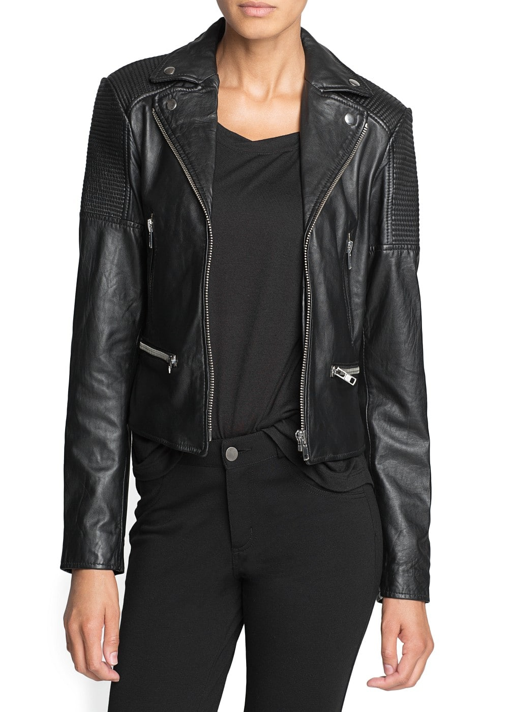 Studded flag leather jacket | MANGO