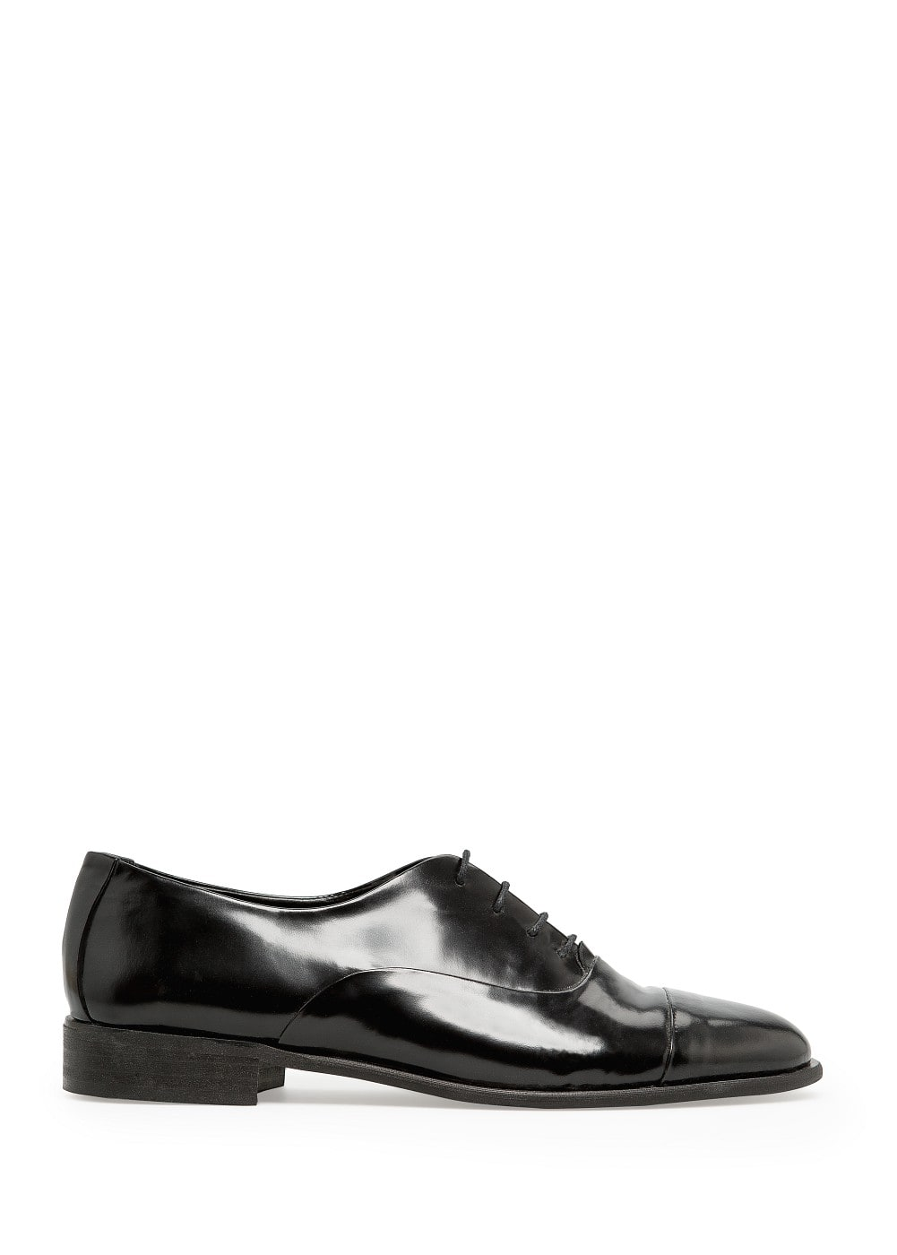 Glossed leather oxford shoes | MANGO