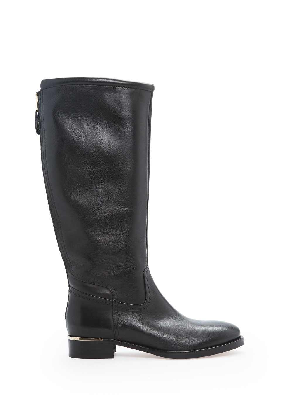 Metal appliqué leather knee boots | MANGO