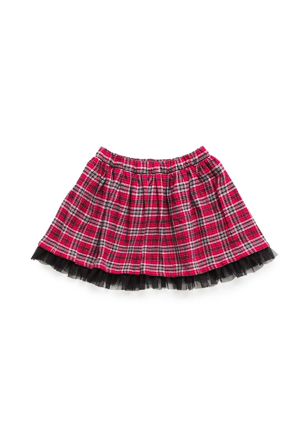 Tulle appliqué plaid miniskirt | MANGO KIDS