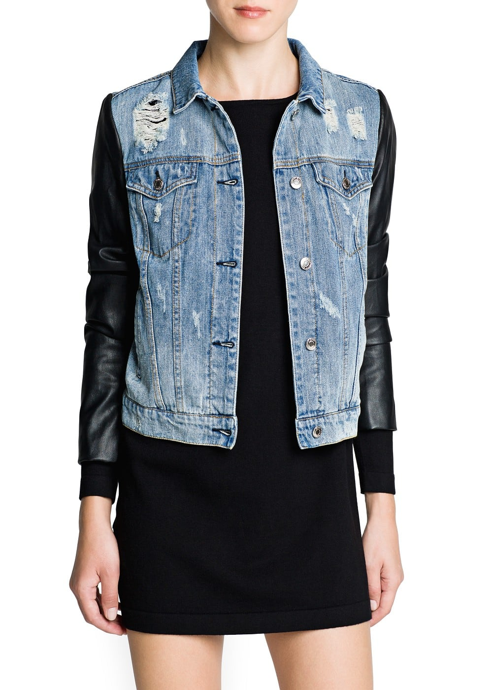 Contrast sleeve denim jacket | MANGO