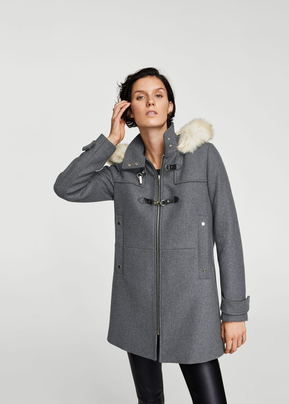 Faux fur hooded coat - Women | MANGO USA