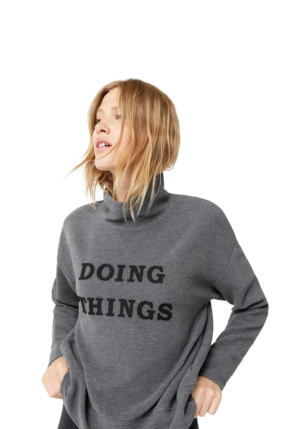 Message turtleneck sweatshirt | MANGO