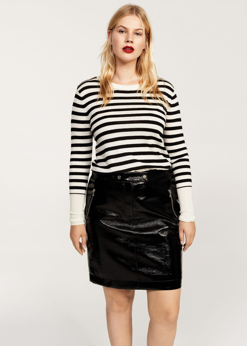 Mini vinyl skirt | VIOLETA BY MANGO