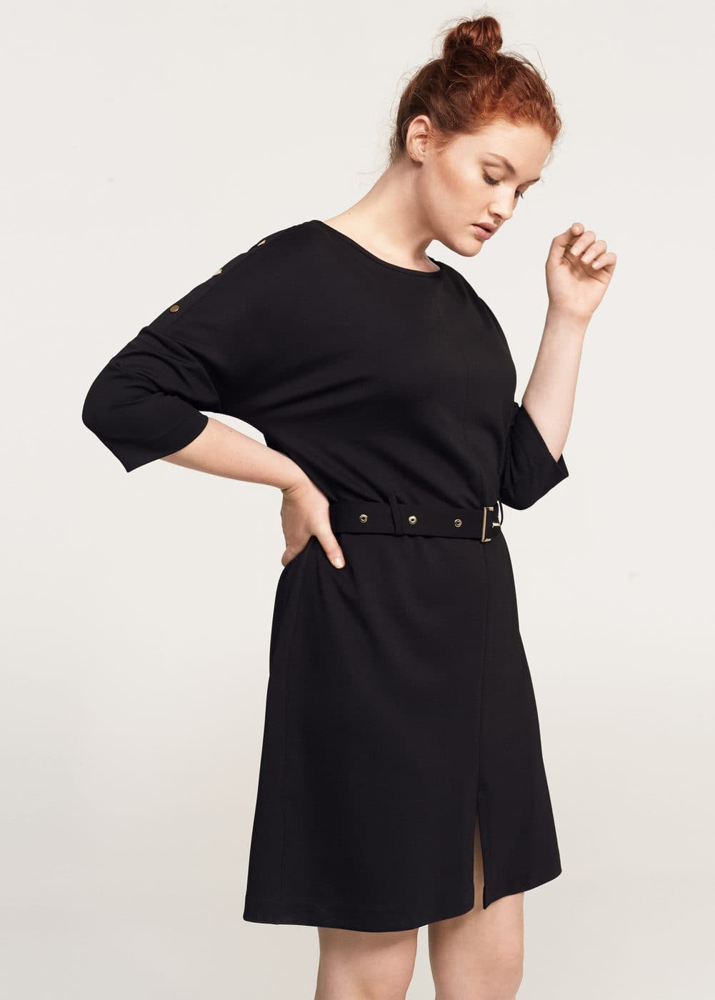 Studs belted dress | MANGO
