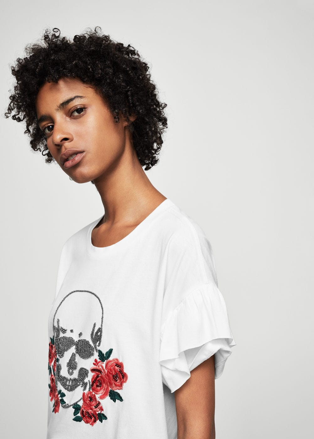 Skull embroidery t-shirt | MANGO