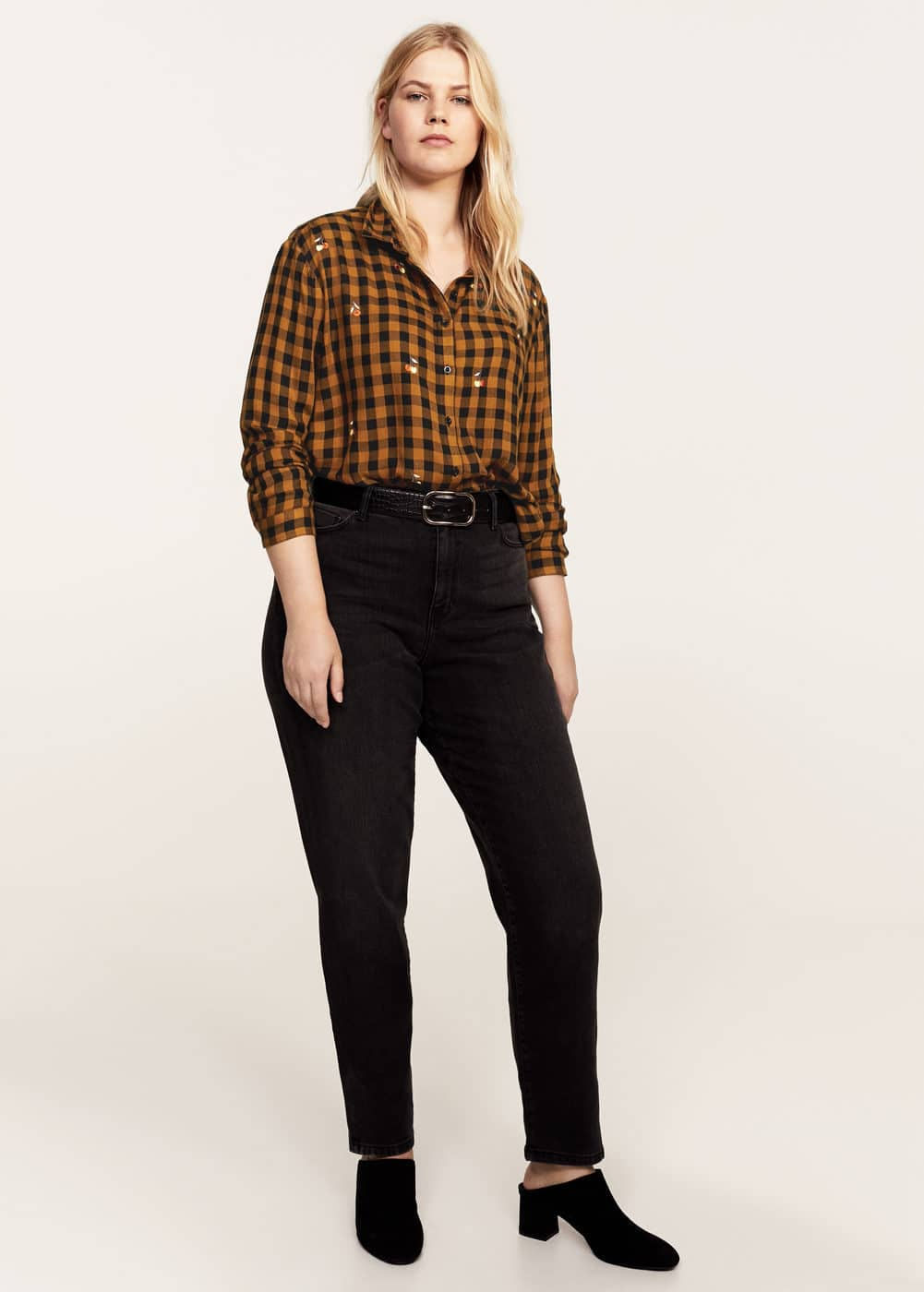 Embroidered checked shirt | MANGO