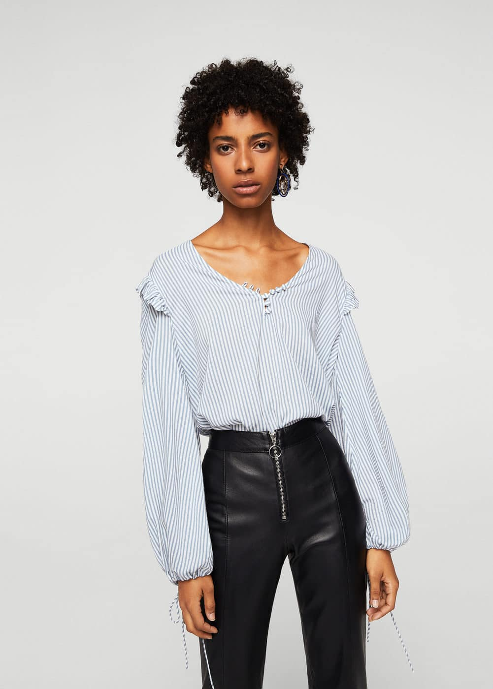 Striped modal blouse | MANGO