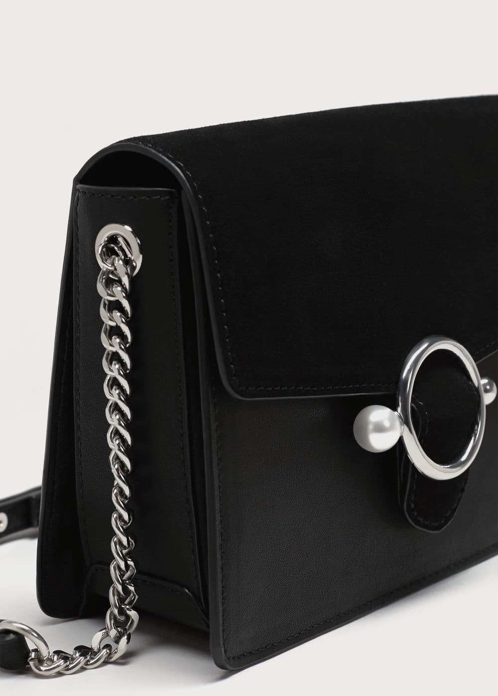 Pearl-effect buckle cross-body bag | MANGO