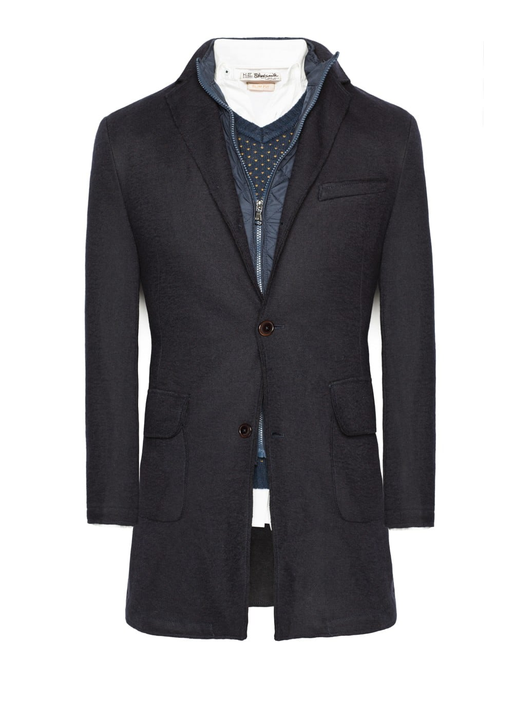 raw-edge wool-blend frock coat | MANGO