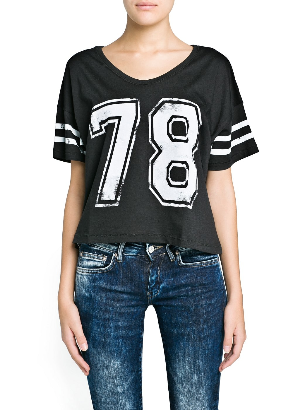 College cropped t-shirt | MANGO
