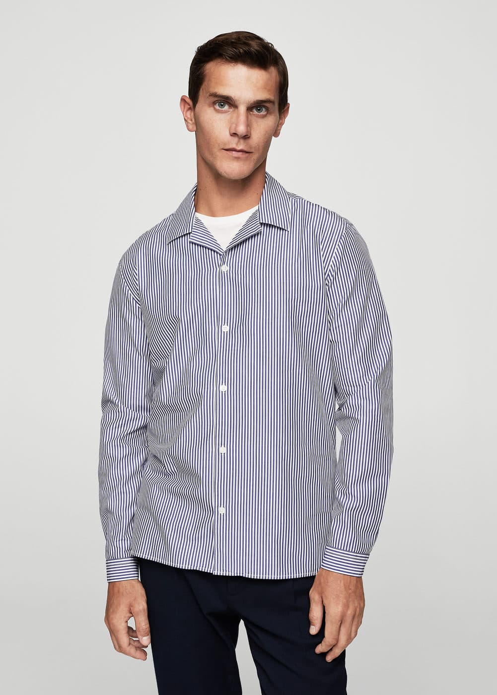 Camisa regular-fit ratlles cotó | MANGO MAN