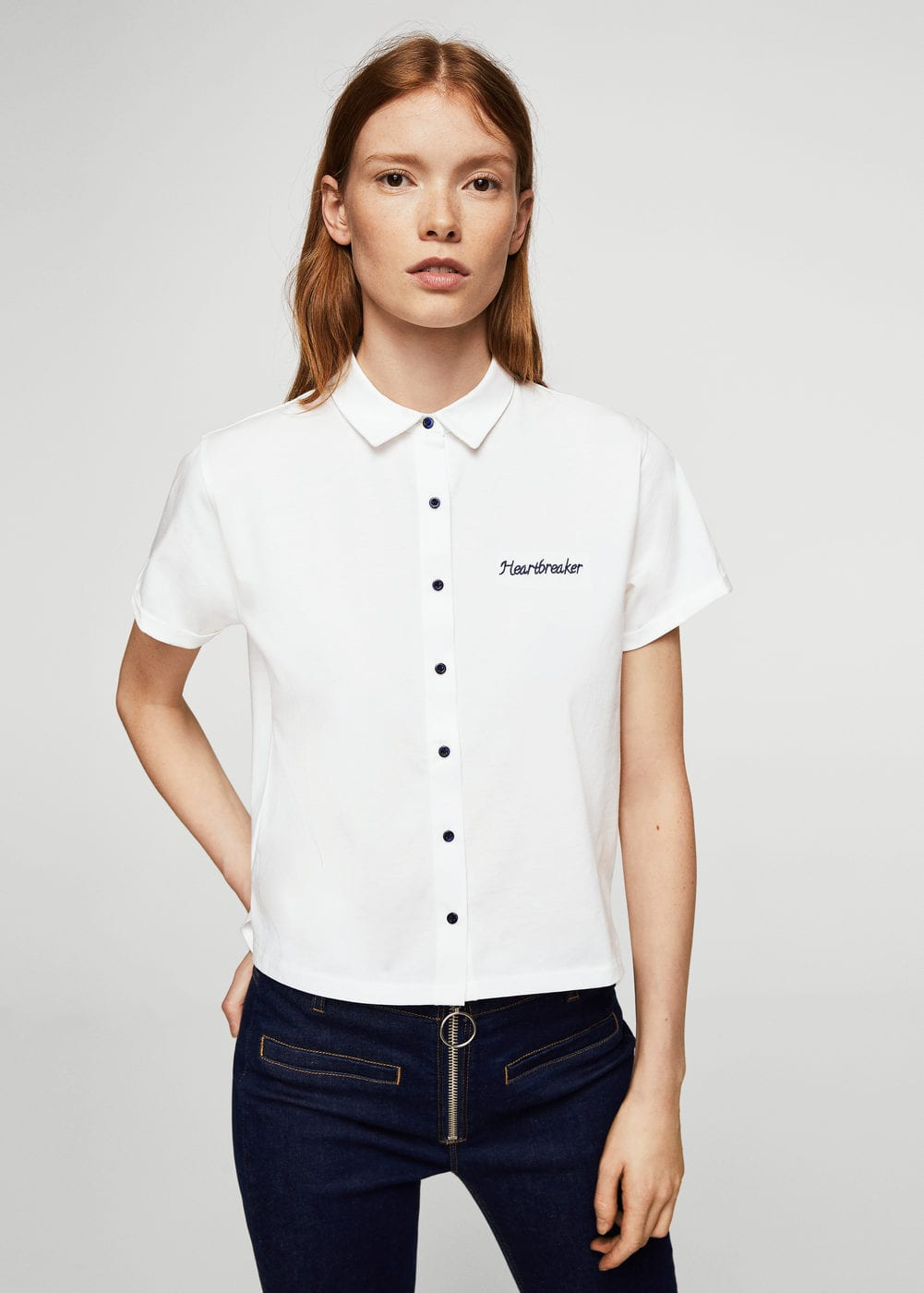 Embroidered message t-shirt | MANGO