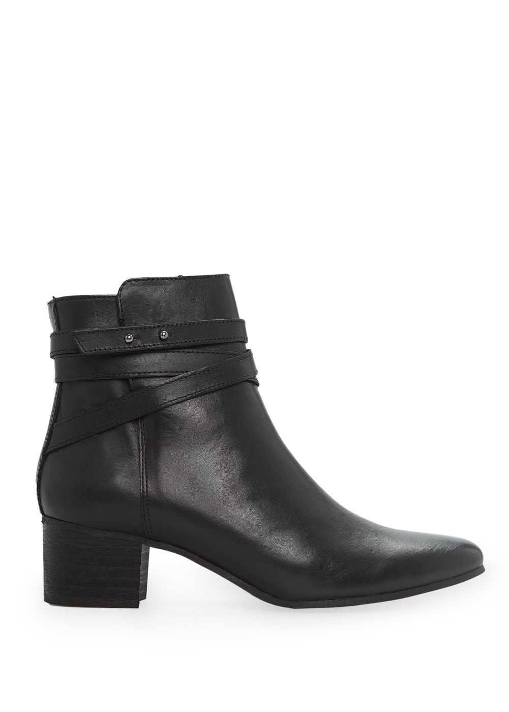 Wraparound strap leather ankle boots | MANGO