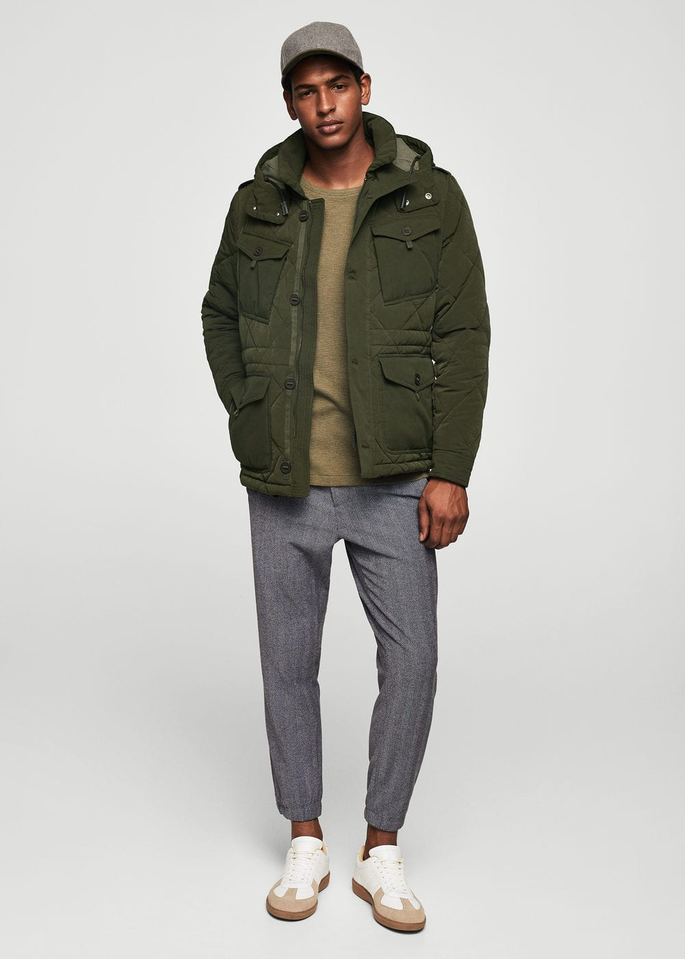 Quilted combined jacket | MANGO MAN
