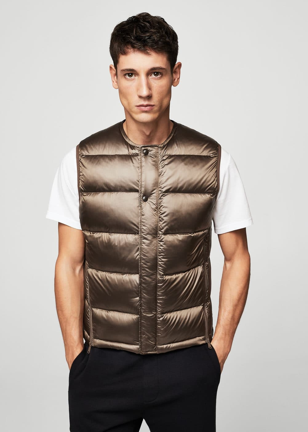 Quilted feather gilet | MANGO MAN
