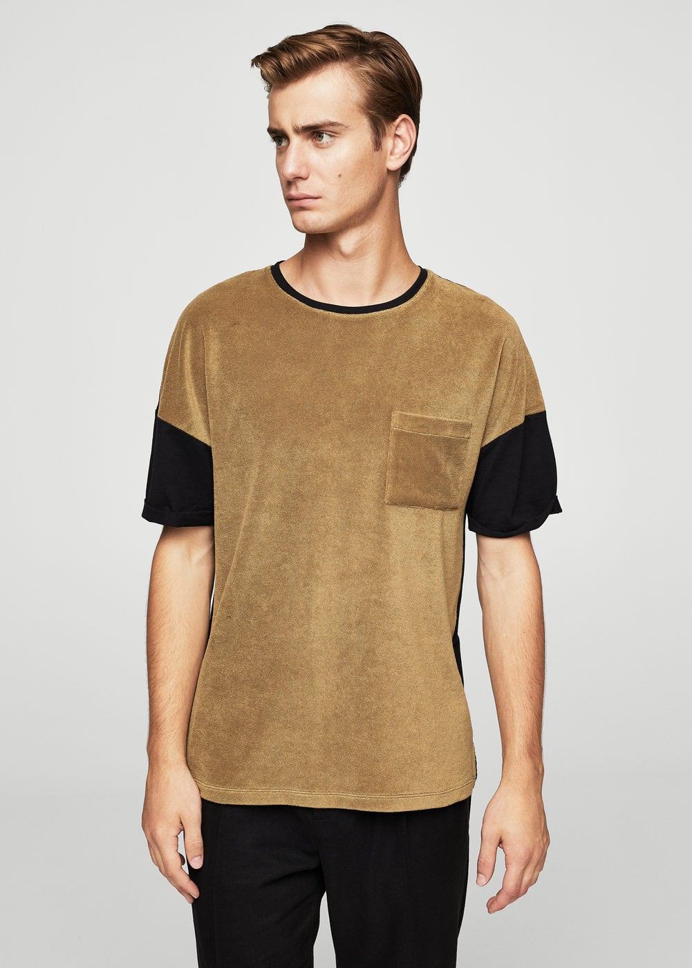 Cotton towel texture t-shirt | MANGO MAN