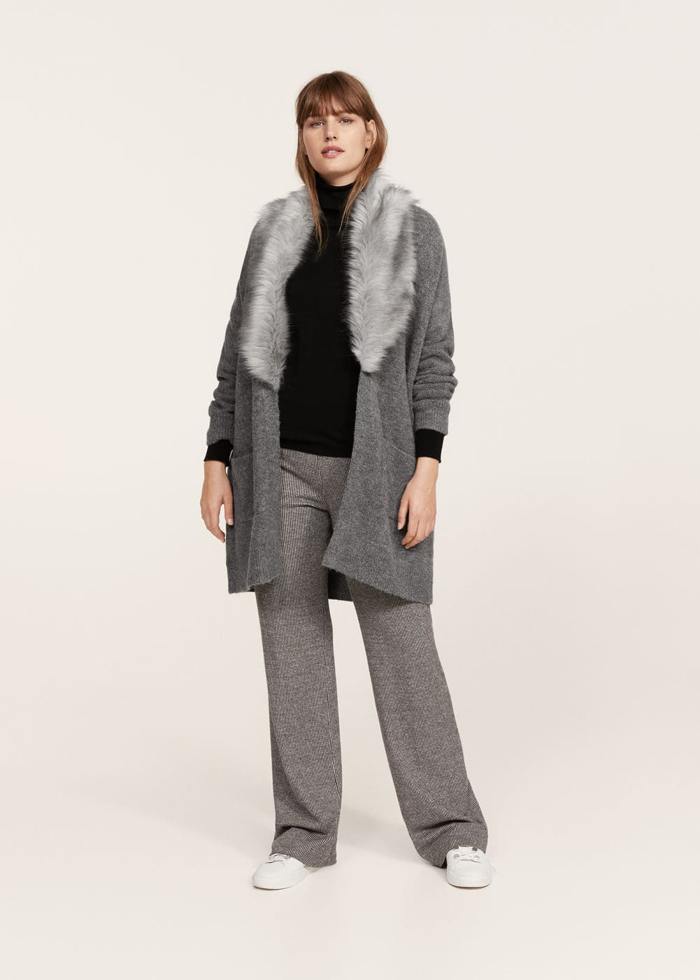 Cardigan faux-fur neck | MANGO
