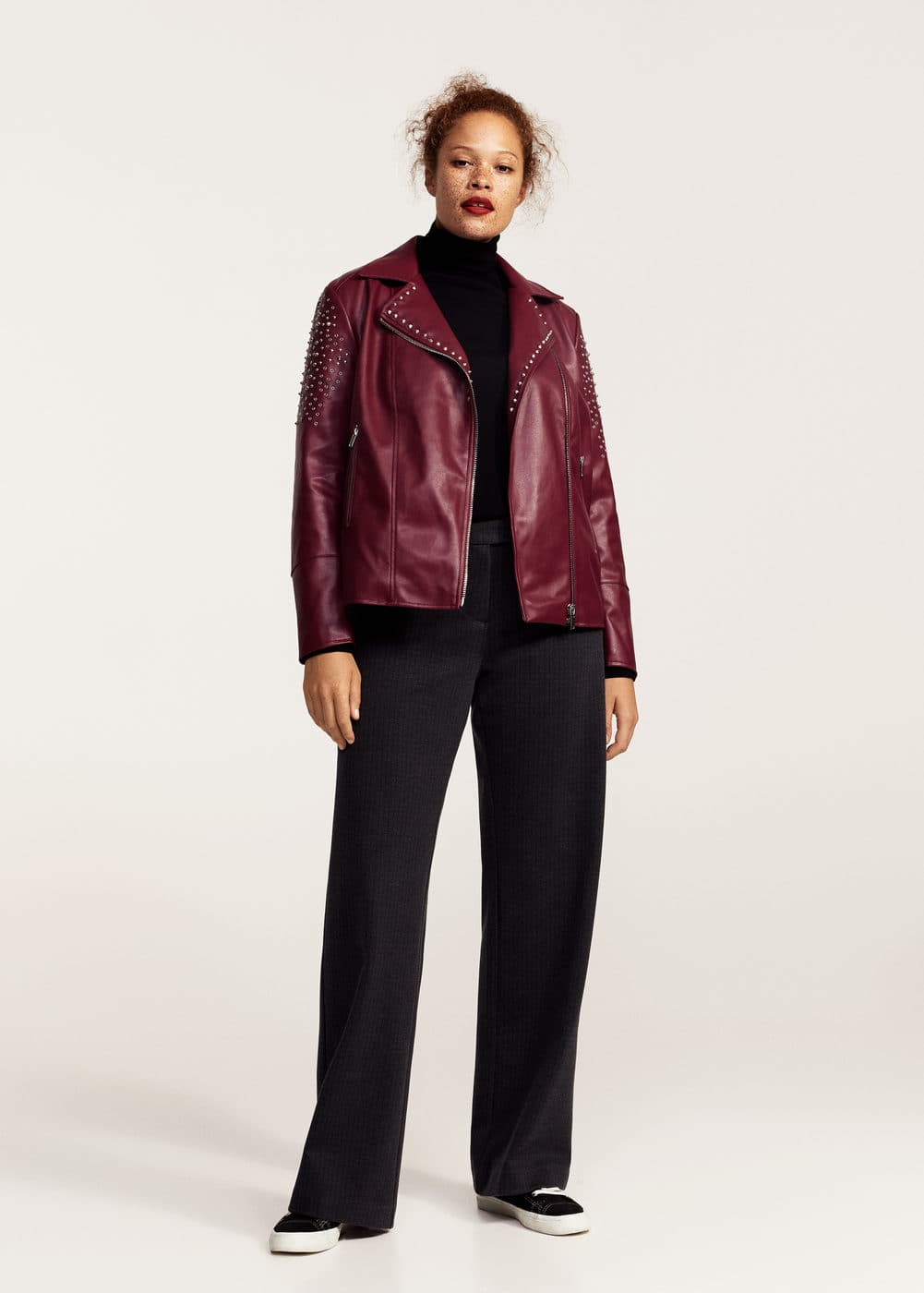 Studded biker jacket | VIOLETA BY MANGO