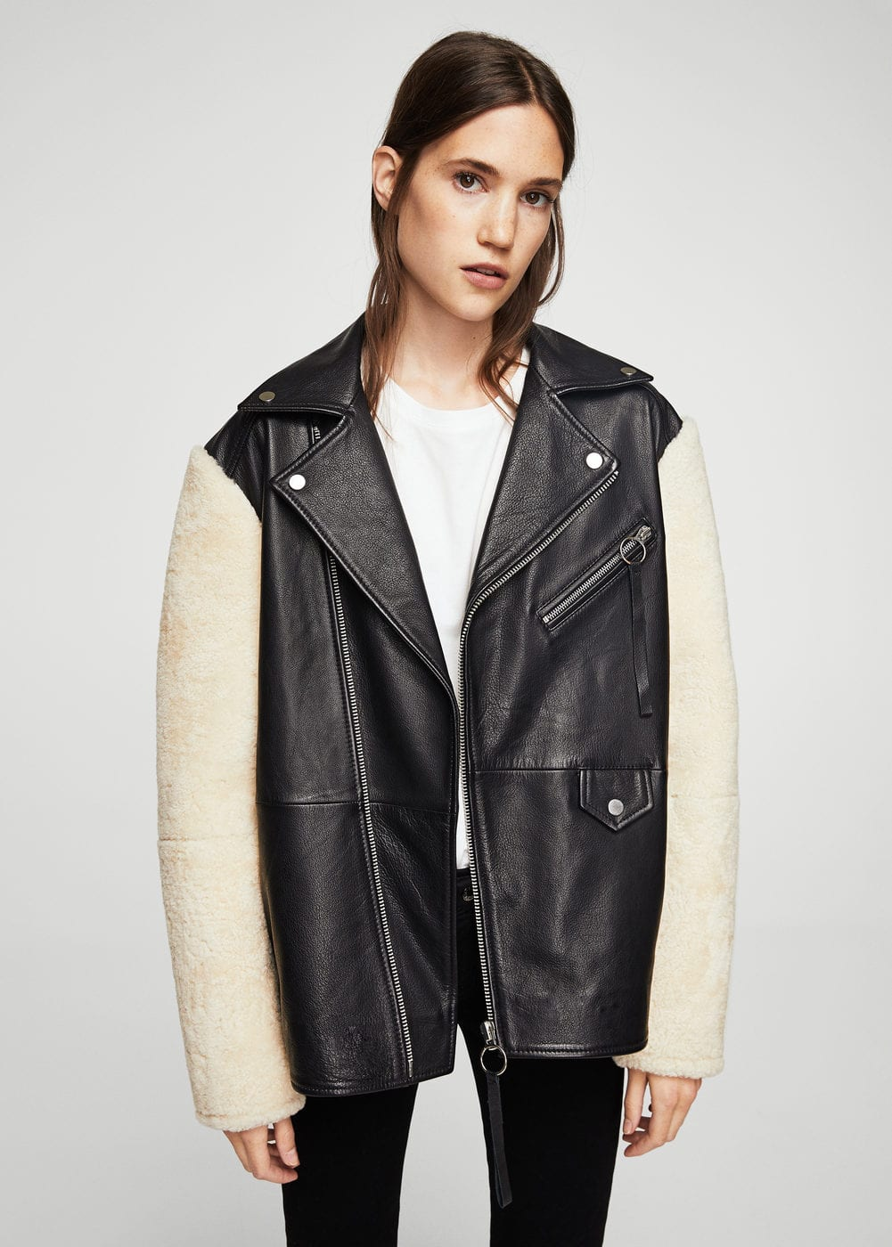Shearling-lined leather jacket | MANGO