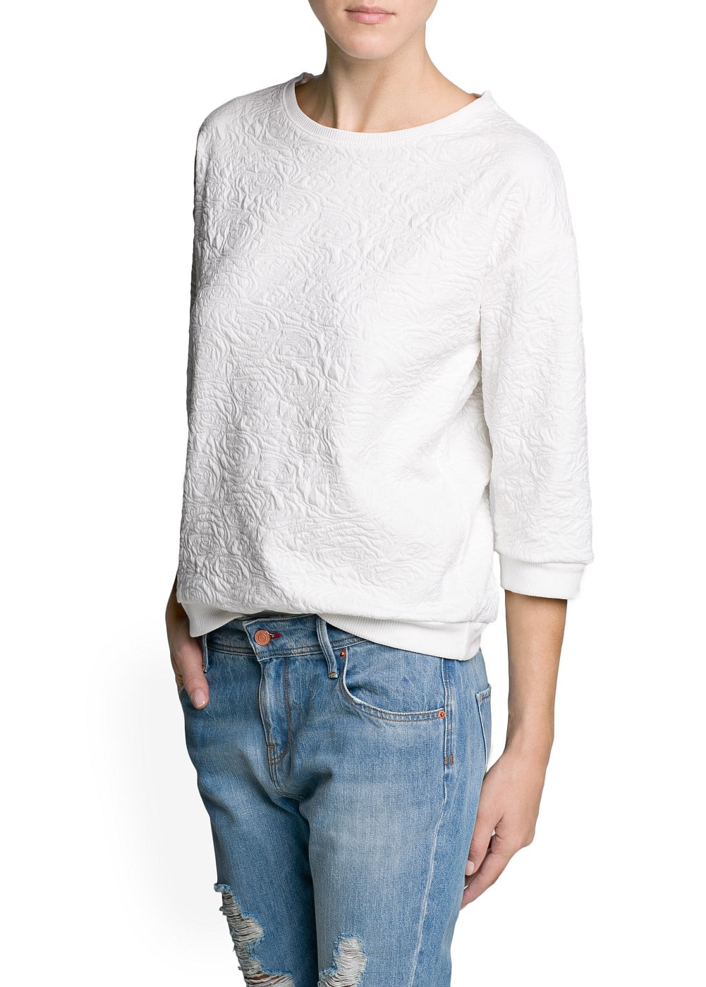 Jacquard cotton-blend sweatshirt | MANGO