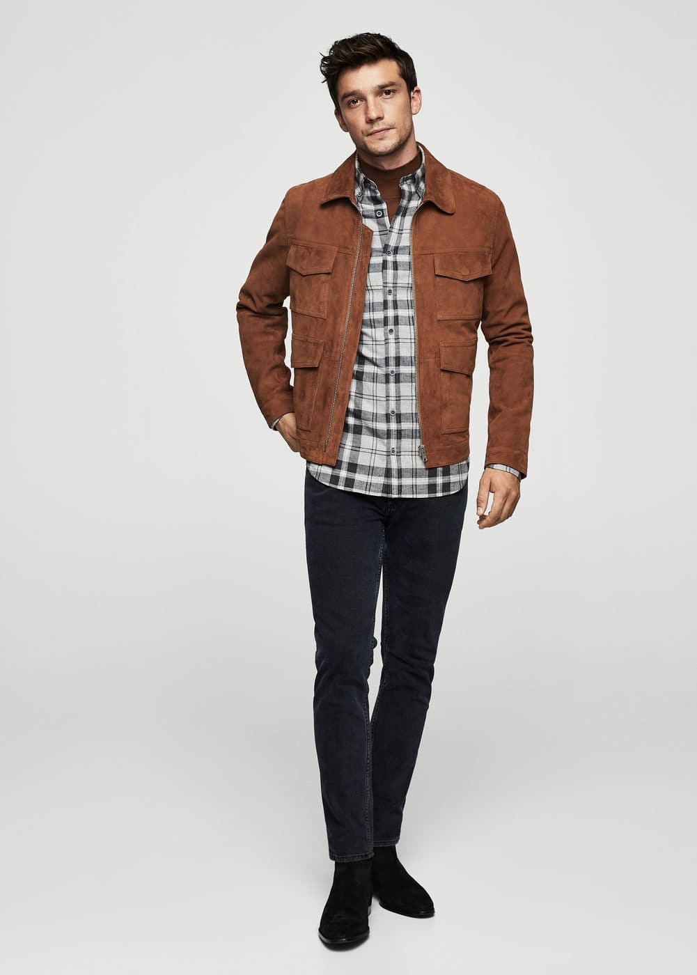 Slim-fit check flannel shirt | MANGO MAN