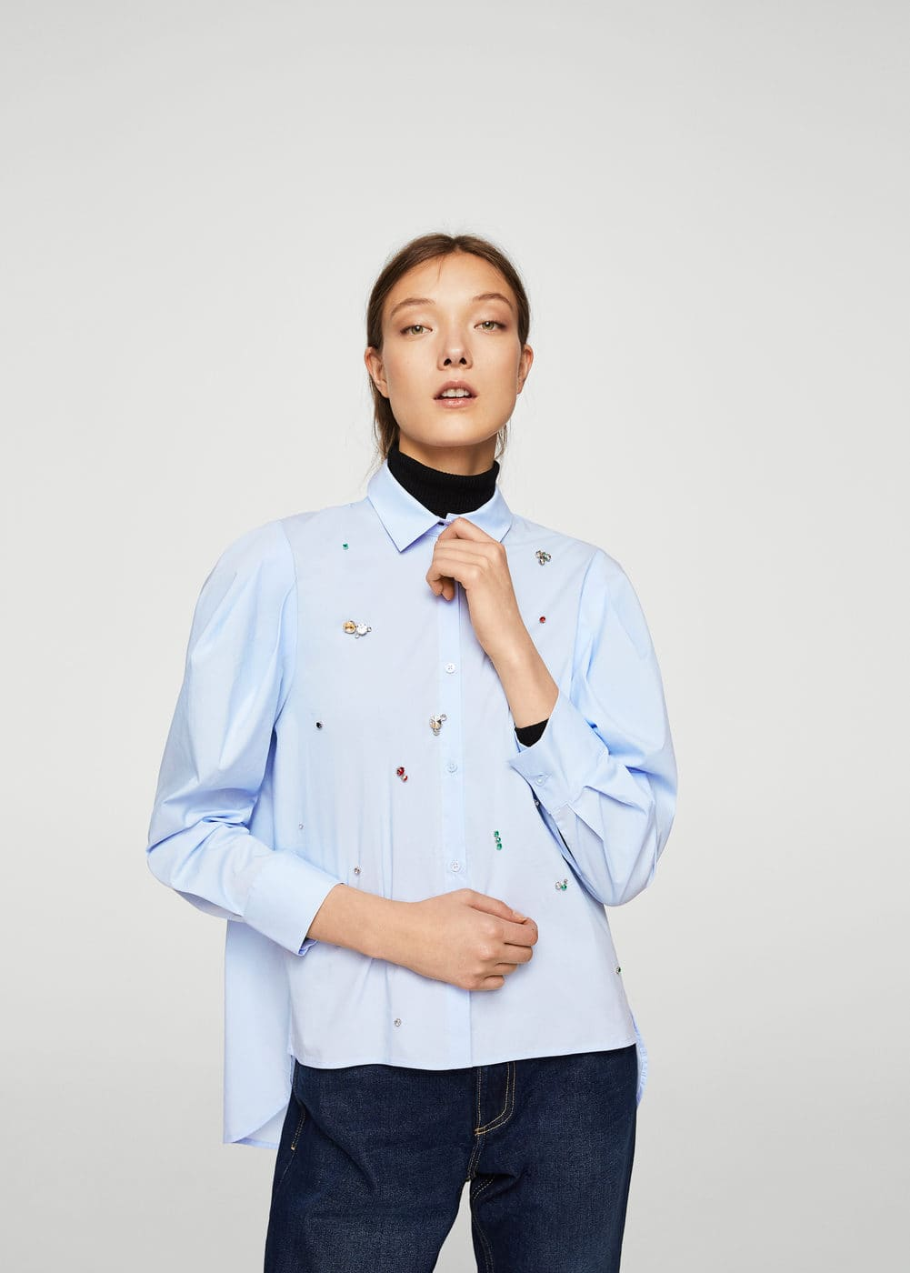 Metallic appliqué shirt | MANGO