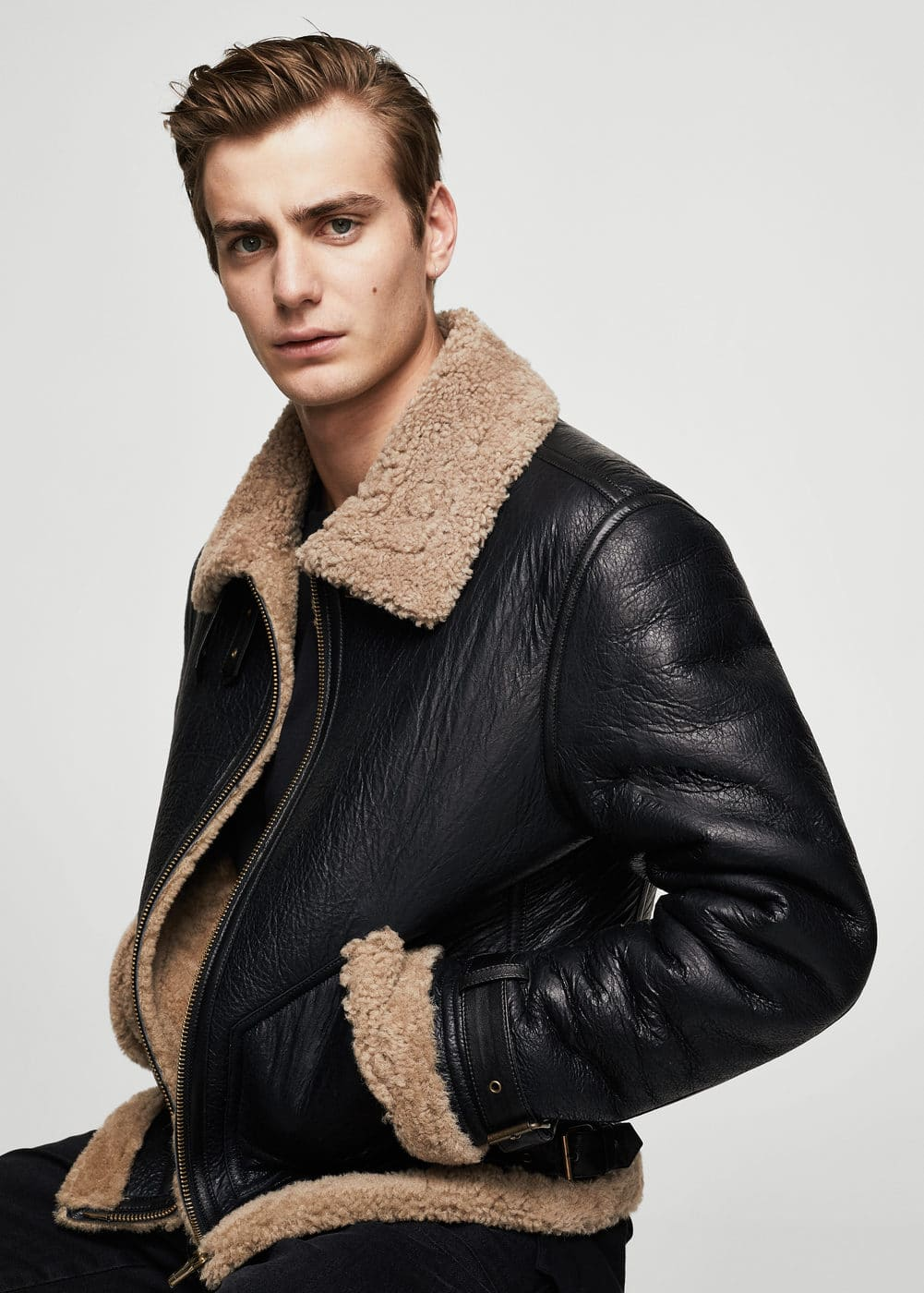Shearling-lined aviator jacket | MANGO