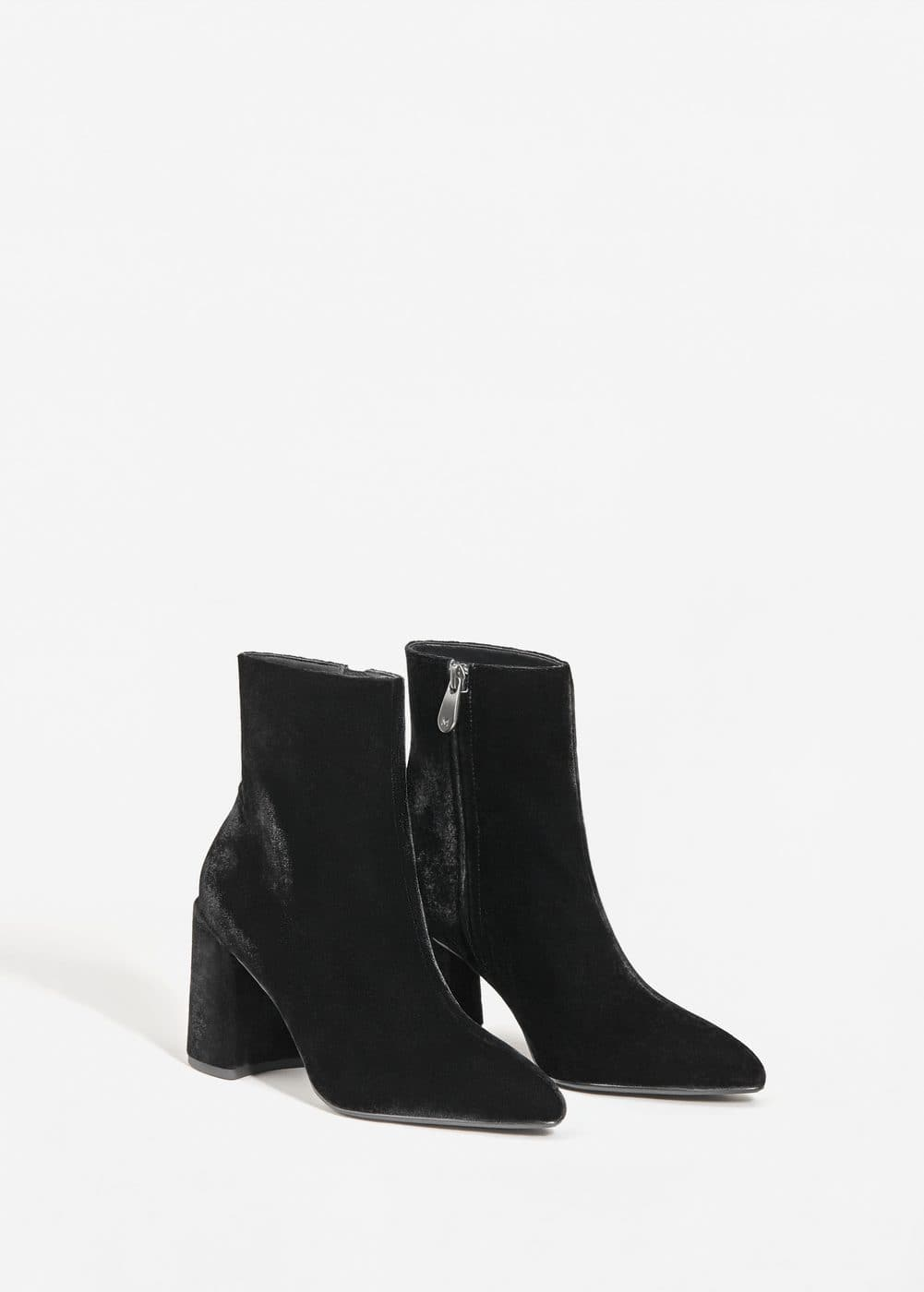 Bottines velours à talons | MANGO