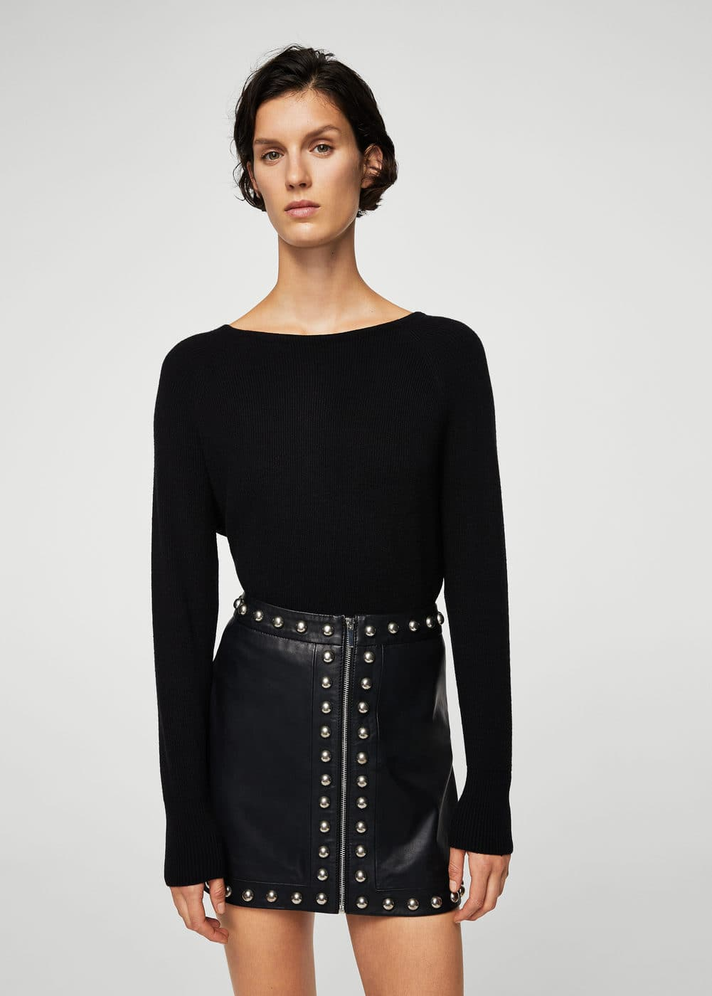 Studded leather skirt | MANGO