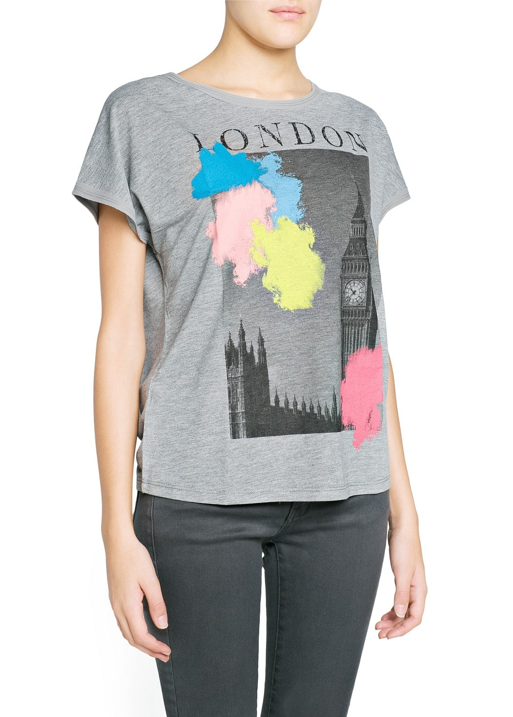 City print slub t-shirt | MANGO