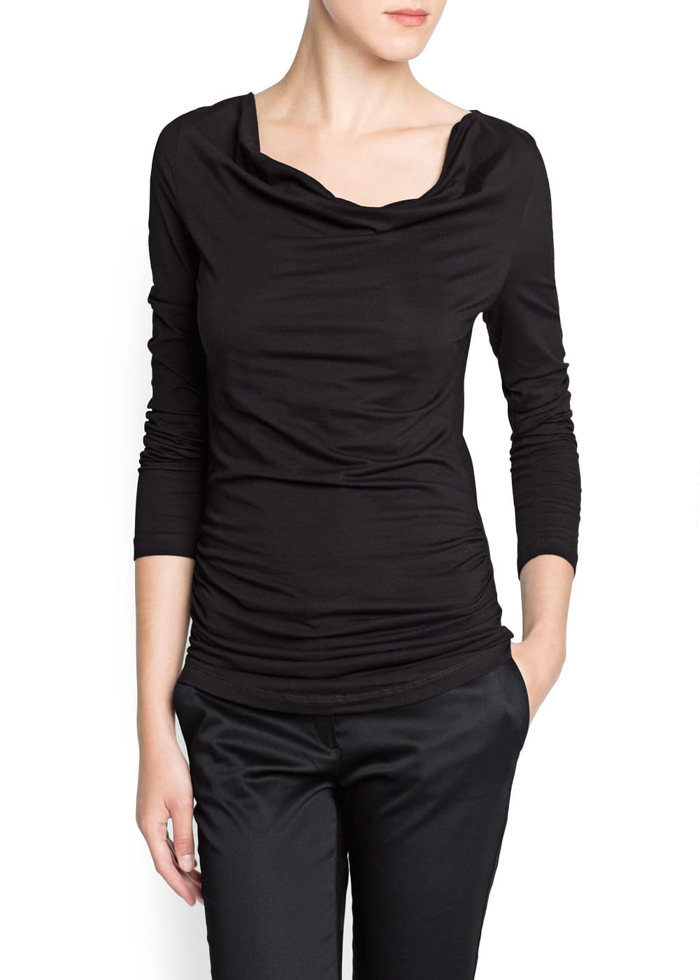 Ruched cotton t-shirt | MANGO