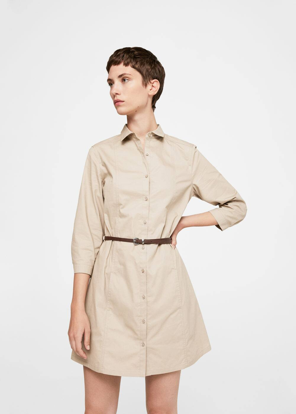 Belt cotton dress | MANGO