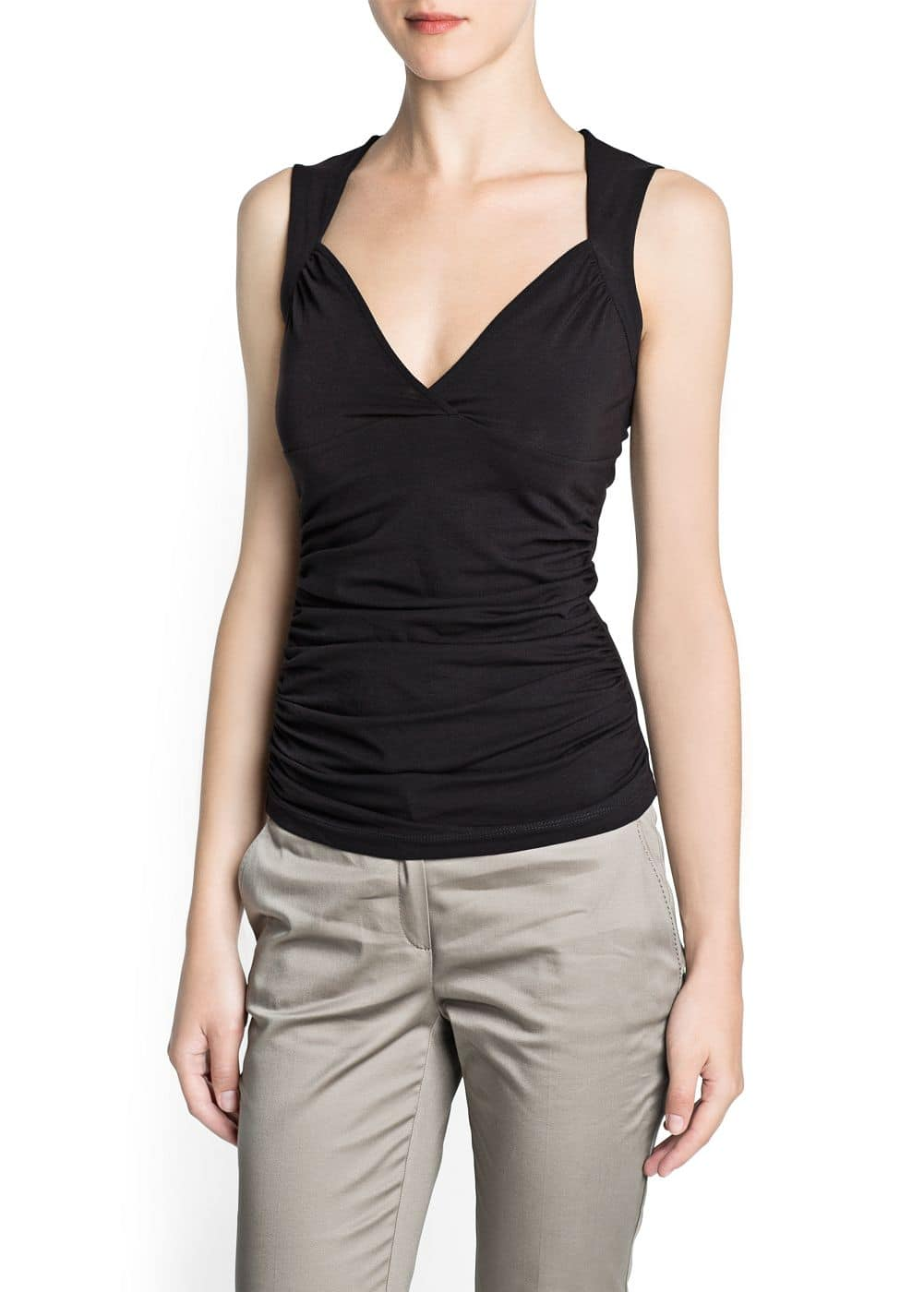 Ruched cotton top | MANGO