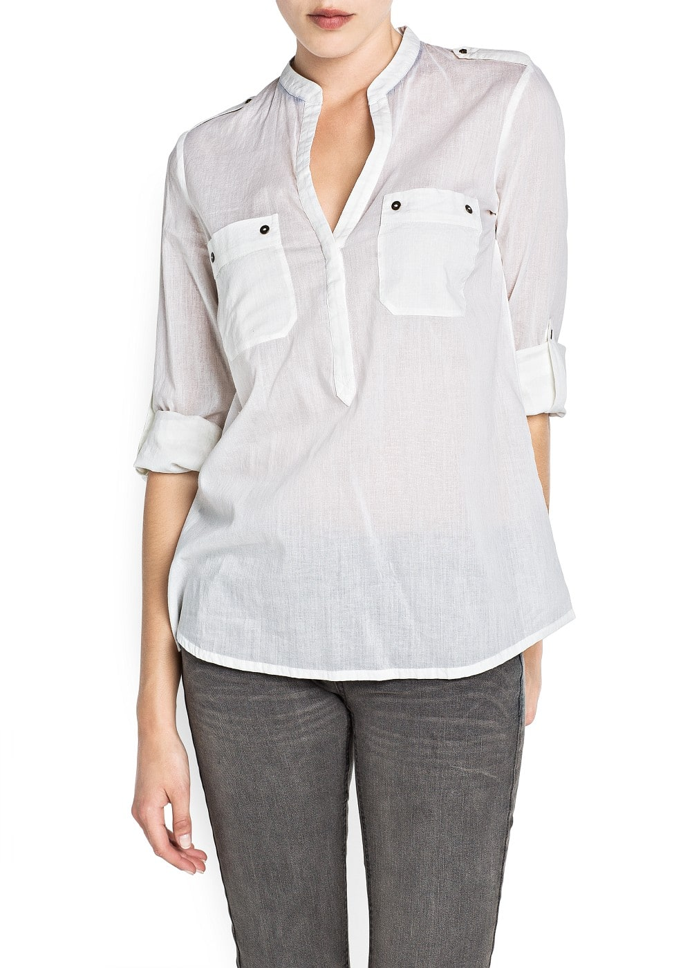 Long sleeved cotton blouse | MANGO