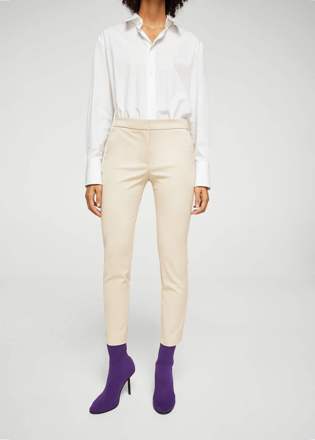 Slim-fit cotton-blend trousers | MANGO