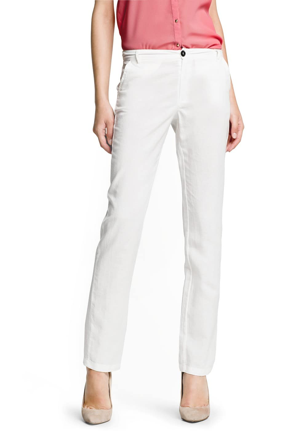 Straight-fit linen cotton-blend trousers | MANGO