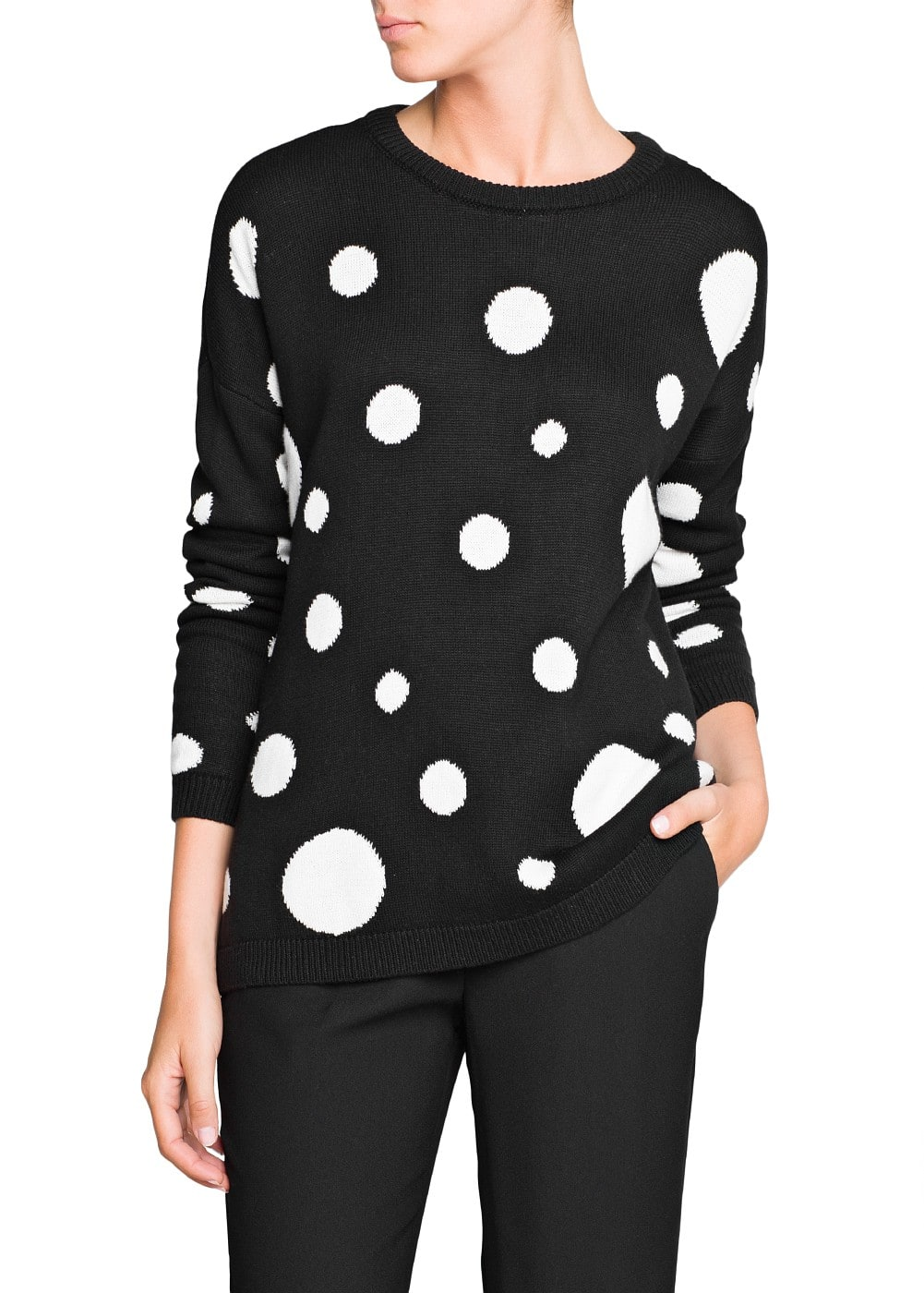 Maxi polka-dot loose-fit sweater | MANGO